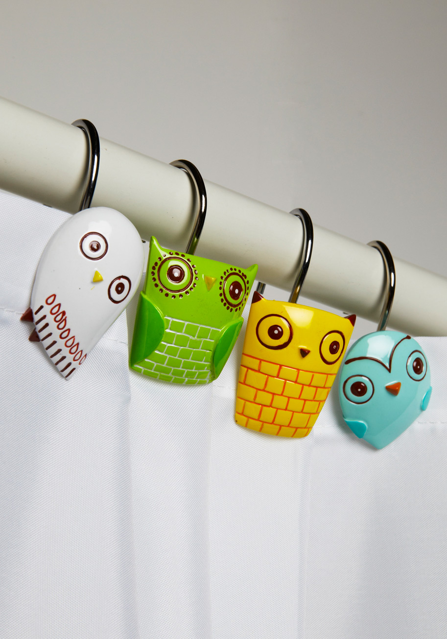 Owl shower curtains - Owl Shower Curtain Rings