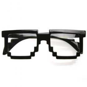 Pixelated 8-Bit Clear Lens Nerd Glasses