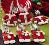 Santa Suit Christmas Silverware Holder