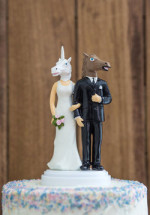 Unicorn & Horse Head Wedding Cake Topper
