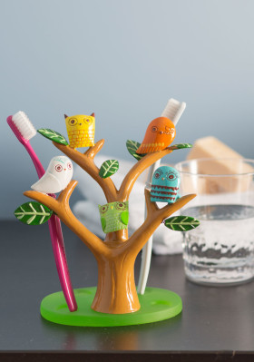 Owl Brush Your Tree-th Toothbrush Holder